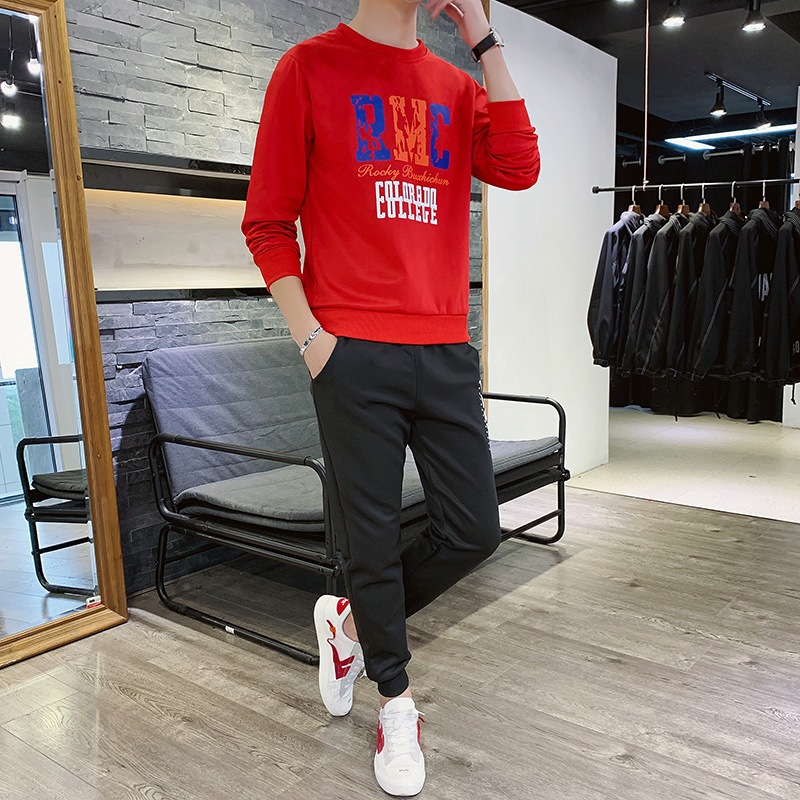 Hoodie Men's Spring And Autumn Leisure Sports Suit Trend Autumn Clothing Handsome Clothes Thin Crew Neck Long Sleeve MEN'S Coat