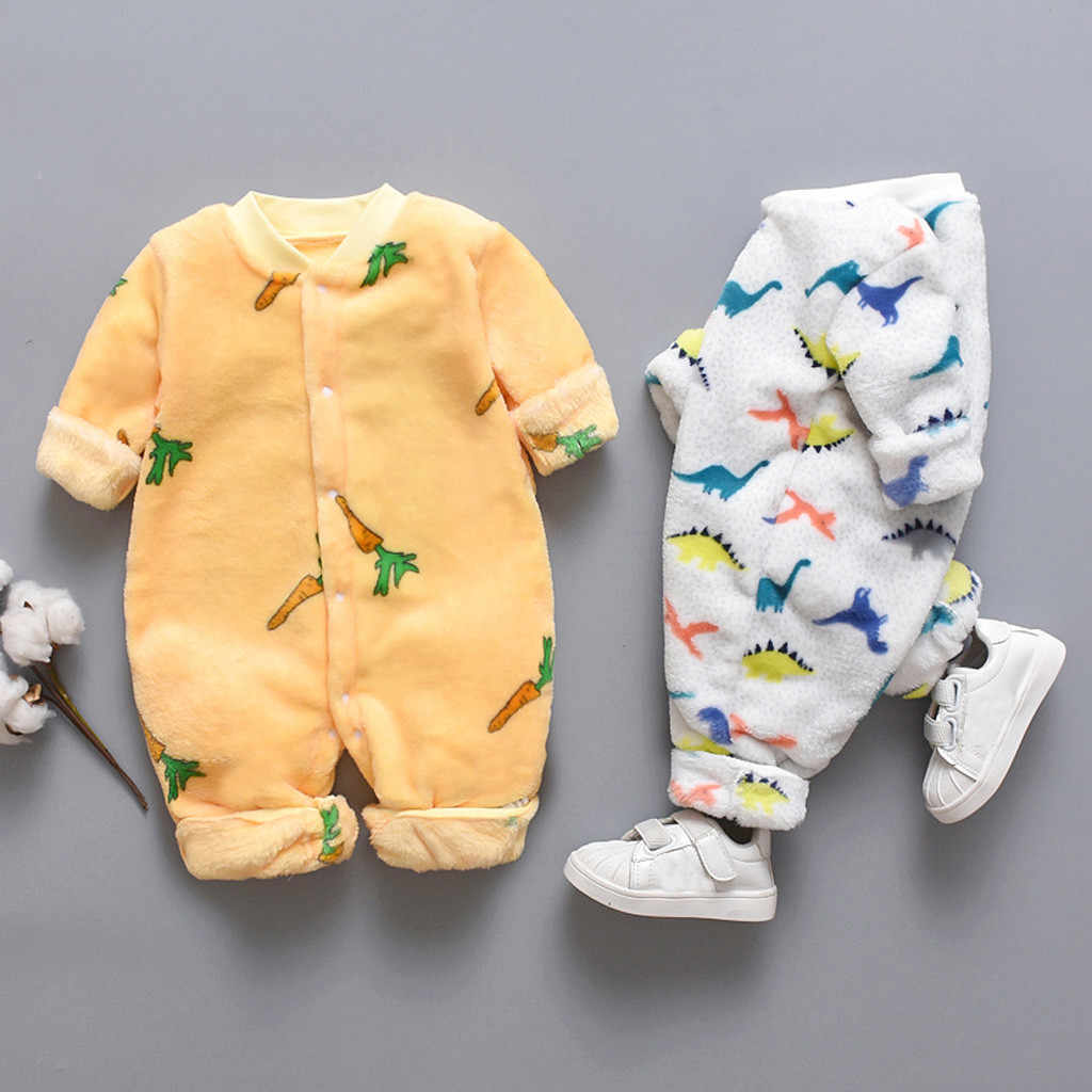 2019 Autumn & Winter Newborn Baby Clothes Dinosaur Print Baby Romper Warm Infant Baby Boy Girl Soft Fleece Jumpsuit Pajamas