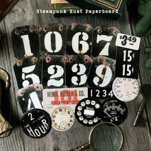 18Pcs/Pack Vintage Steampunk Digit rust Paperboard DIY Craft Scrapbooking Album Junk Journal Planner Decorative Diary