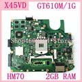X45VD HM70 GT610M/1G N13M-GE6-S-A1 с 2 Гб ОЗУ Материнская плата ASUS X45V X45VD материнская плата для ноутбука 60-NROMB1101-C05 100% протестирована