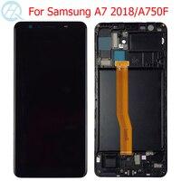 원래 A7 2018 AMOLED LCD 삼성 갤럭시 A7 2018 A750 디스플레이 프레임 6.0