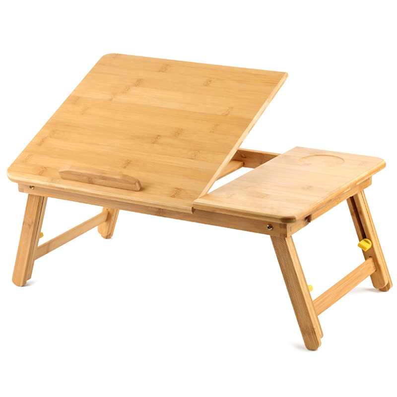 Laptop Desk Table Adjustable Phoebe Bamboo Foldable Breakfast Serving Bed Tray With Tilting Top Drawer,Lazy Table