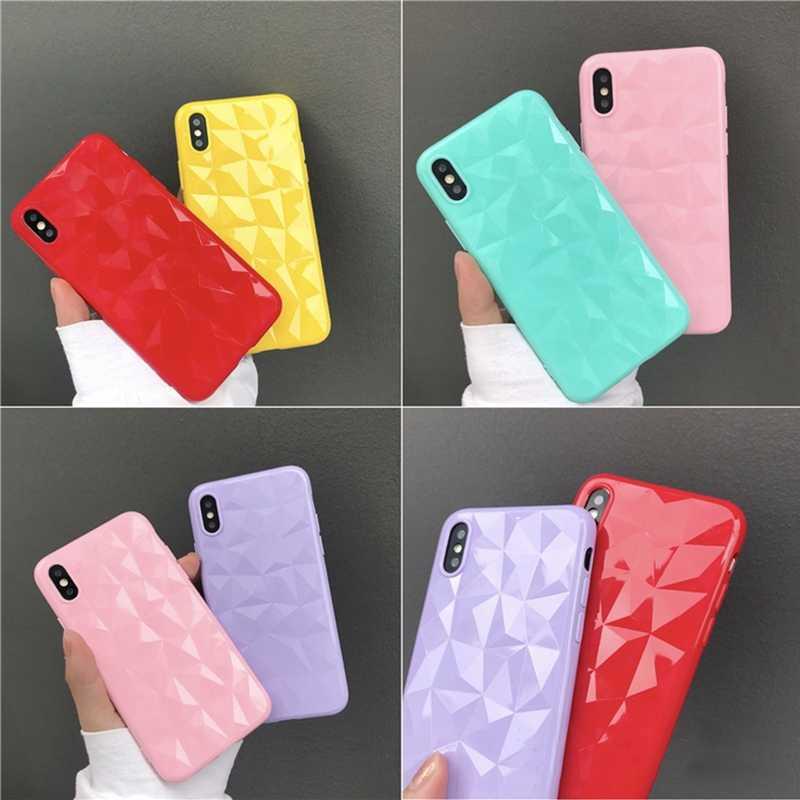 Coque pour iphone 6 6S Plus 7plus iphone 7 10 3D motif diamant bonbons couleurs TPU coque souple pour iphone 8 7 6 6s 8plus X Capa