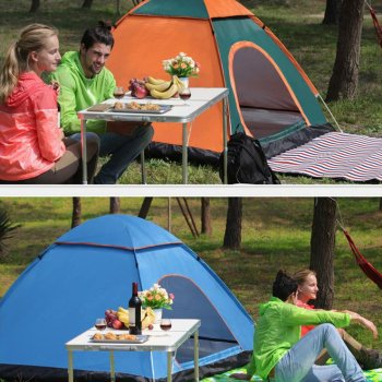 Outdoor Automatic Tents Camping Waterproof Tents 3-4 People Beach Camping Showers Speed Open Double Tent 3