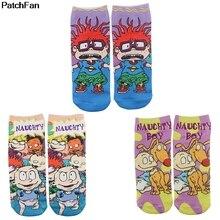 Patchfan anime cosplay New Cartoon Anime Printed Women Men Socks Ankle Socks Kaw