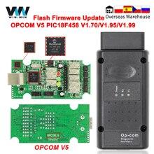 Opcom v5 para opel op com 1.70 flash firmware atualização de diagnóstico do carro para opel OP COM 1.95 pic18f458 pode ônibus obd obd2 ferramentas automóvel