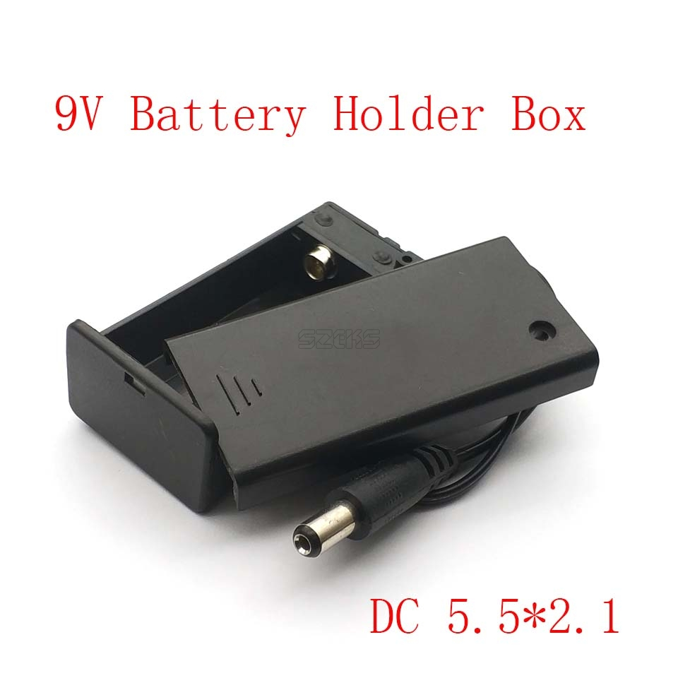 DC 9V PP3 Battery Holder Box Case Wire Lead ON/OFF Switch Cover + DC 2.1mm Plug
