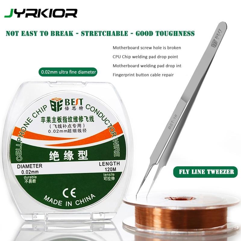 Jyrkior BST Mobile Phone Motherboard Fingerprint Maintenance Ultra-sharp Tweezer 0.02mm Superfine Jump Wire Ultra Fine Fly Line