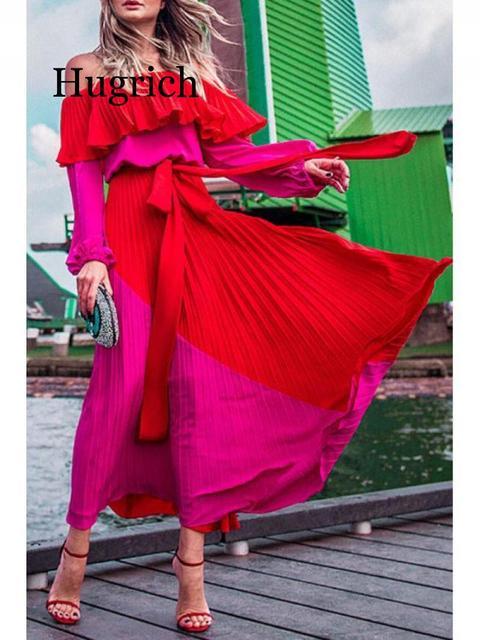 2020 Women Dress Slash Neck Off The Shoulder Dresses Women Plus Size Summer Dresses Bandage Patchwork Pleated Long Dress 2