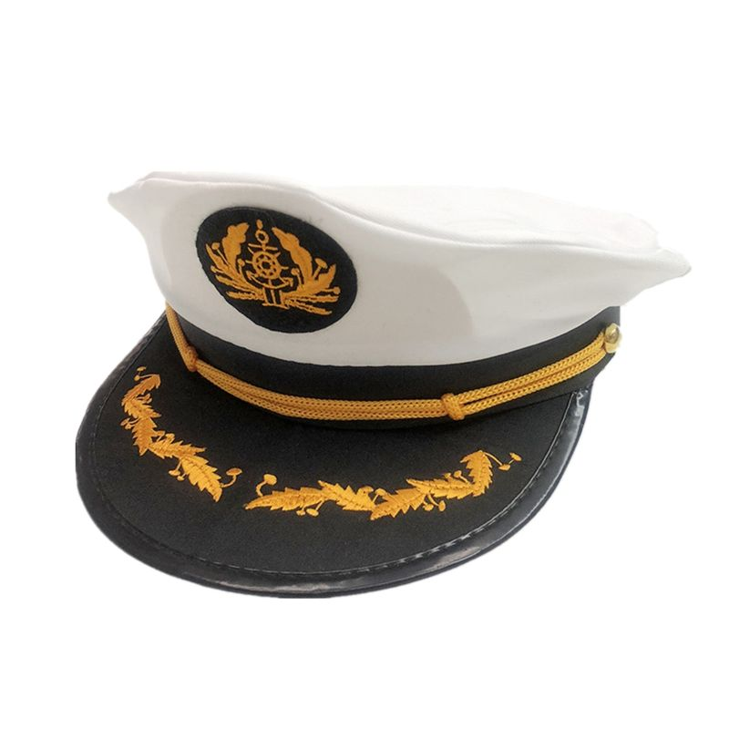 Captain's Yacht Sailors Hat Snapback Adjustable Sea Cap Navy Costume Accessory
