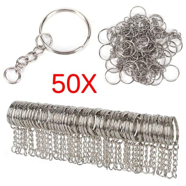 Silver Plated Metal Blank Keyring Keychain Split Ring Keyfob Key Holder Rings Women Men DIY Key Chains Accessories 1