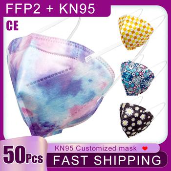 50 sztuk KN95 usta maska 5-warstwy filtr Respirator jednorazowe oddychające maski moda boże narodzenie maseczka z nadrukiem Mascarilla FFP2 tanie i dobre opinie NoEnName_Null Z Chin Kontynentalnych GB2626-2006 kn95 FFP2