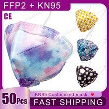 50 pièces KN95 masque buccal 4 couches filtre respirateur jetable masques respirants mode noël imprimé masque Mascarilla FFP2