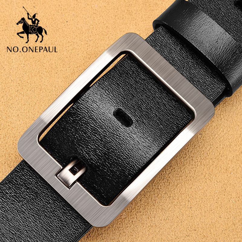 NO.ONEPAUL Genuine Leather Men's Belt Fashion Business Alloy Pin Buckle Belts Formen High Quality Belts Men Jeans Punk Belt