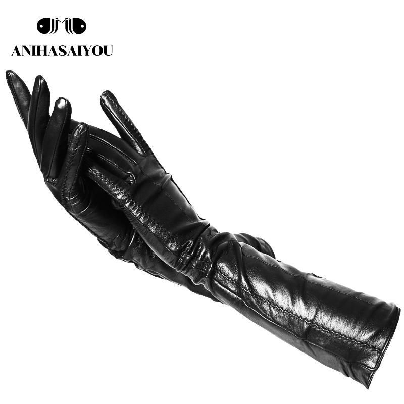 2019 New Winter Long Leather Gloves,sheepskin Women's Long Gloves ,warm Genuine Long Leather Gloves Women Long Gloves- CSD-50CM