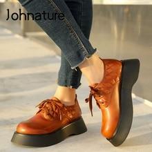 Johnature Pumps Women Shoes Autumn 2021 New Genuine Leather High Heels Casual Round Toe Lace-up Retro Platform Ladies Shoes