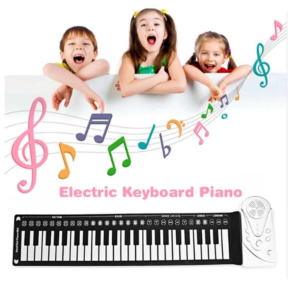 Portable 49 Key Flexible Silicone Roll Up Piano Folding Electronic Keyboard Children Student Early Learning Education