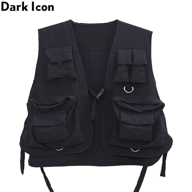 Clearance SaleMen's Vest Jacket Gilet Streetwear Dark-Icon Military Dad-Core Multiple-Pockets