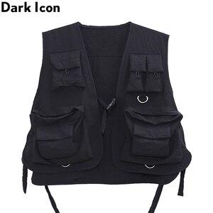 Image 3 - Gilet militaire à poches multiples, icône sombre, Cargo Hip Hop pour homme, Gilet sans manches, Gilet Core, Streetwear