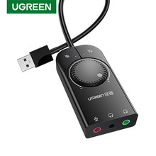 Ugreen Soundkarte USB Audio Interface Externe 3,5mm Mikrofon Audio Adapter Soundkarte für Laptop PS4 Headset USB Soundkarte