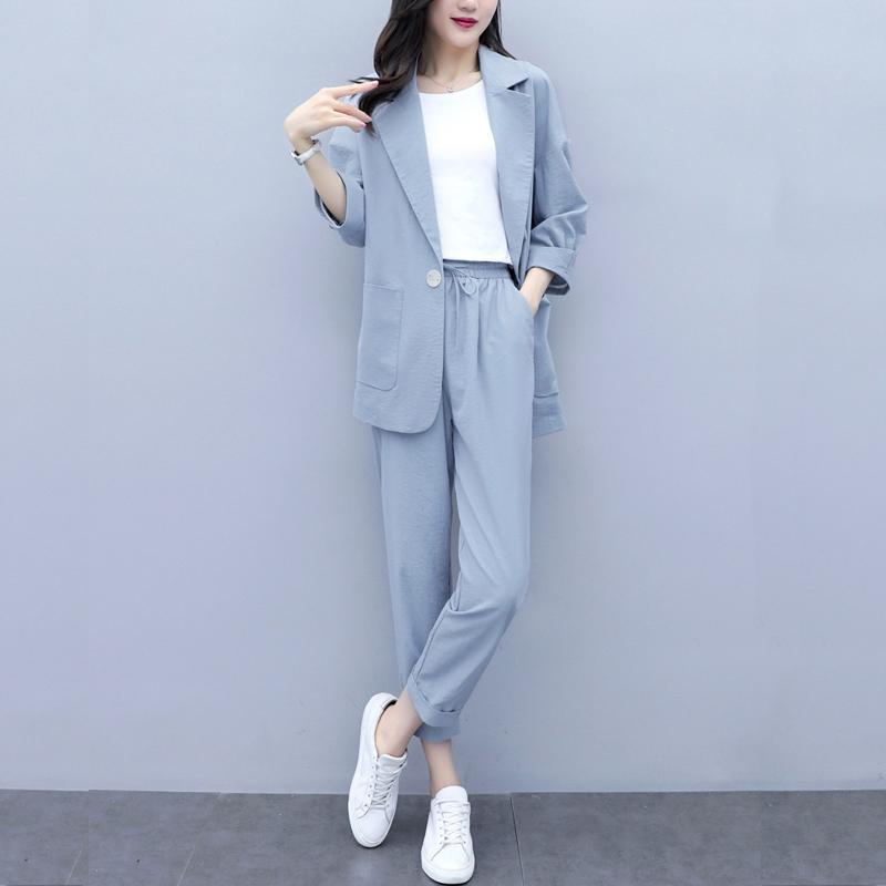 Casual Solid Women Pant Suits Notched Collar Blazer Jacket & Pencil Pant Female Suit Autumn OL Office Wear Blue Women Suits
