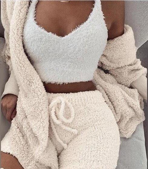Knitted Fleece  3 Piece Set Short Jumpsuit & Romper Women Autumn Soft Warm Sexy Playsuit Winter Female Plus Size Club Overalls