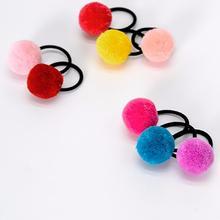 Fashion Fur Ball Baby Hair Clips Handmade Elastic Solid Plush Ring Hairband Newborn Childern Accessories New