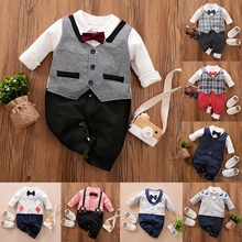 Malapina 2020 Newborn Baby Boy Clothes Gentleman Suit Tuxedo Romper Jumpsuit Overalls Infant Outfit with Bow Tie Baptism Costume