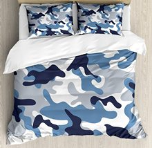 Camouflage Duvet Cover Set Illustration with Abstract Soft Colors Pattern Camouflage Design 3 Piece Bedding Set