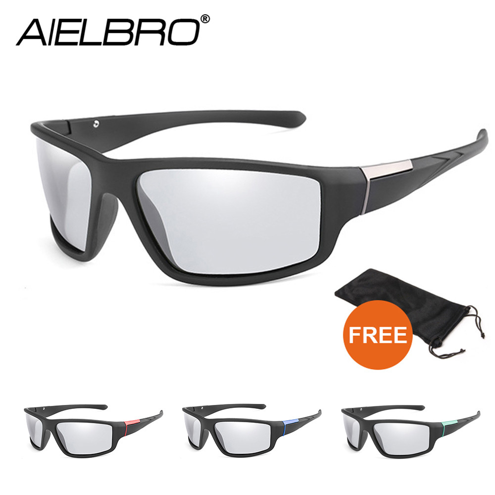 Aielbro photochromic óculos de pesca ao ar livre óculos de sol esporte polarizado óculos de pesca 2020