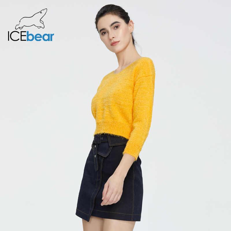 Icebear 2020 새로운 유럽과 미국의 봄 긴 소매 v-목 조커 느슨한 배꼽 스웨터 AW-010