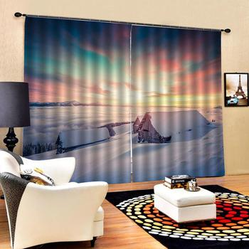 Beautiful Photo Fashion Customized 3D Curtains Hut, snow scene, sunset Scenery Printing Blackout Living Room Bedding Room Hotel