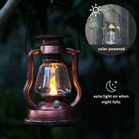 Vela colgante alimentada por energía Solar, led Retro, lámpara de aceite parpadeante, sin llama, iluminación colgante de Exteriores, jardín