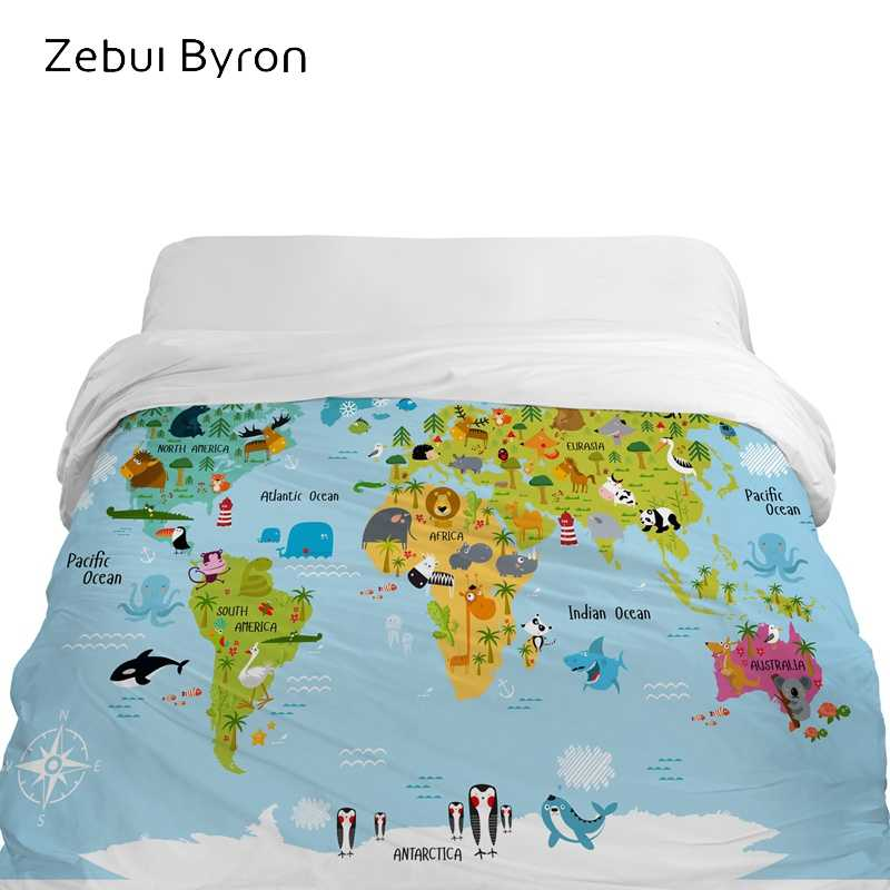 3D Cartoon Duvet Cover,comforter/Blanket Cover for kids/baby/children,Quilt cover for 90/150/135 bed,Bedding world map