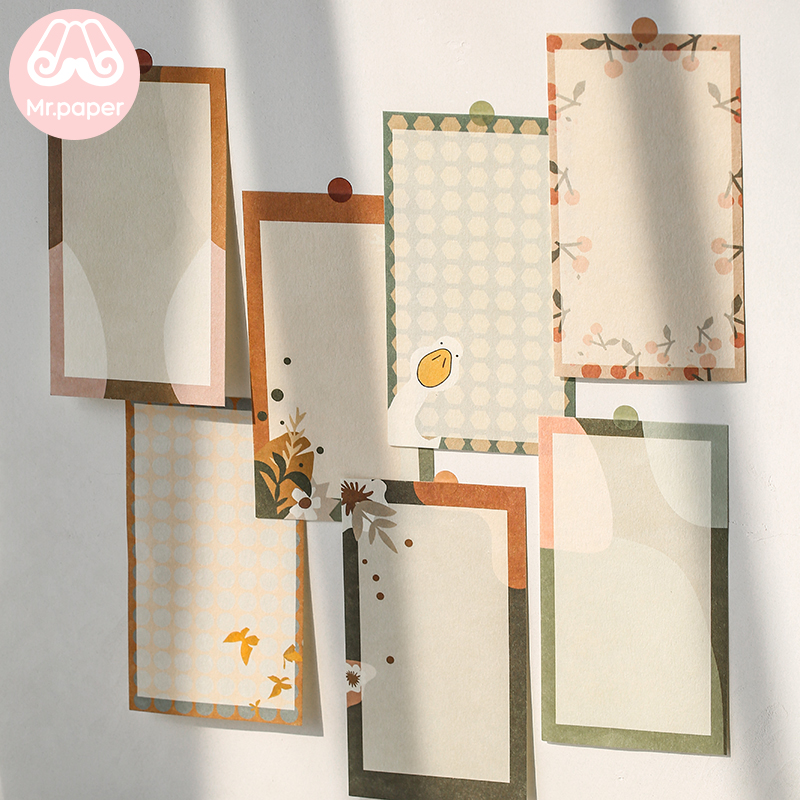Mr Paper 4 Designs 12 Pcs Plant Winter Note Memo Pad Kawaii Stationery Notes Portable Notepad School Office Supply Papeleria
