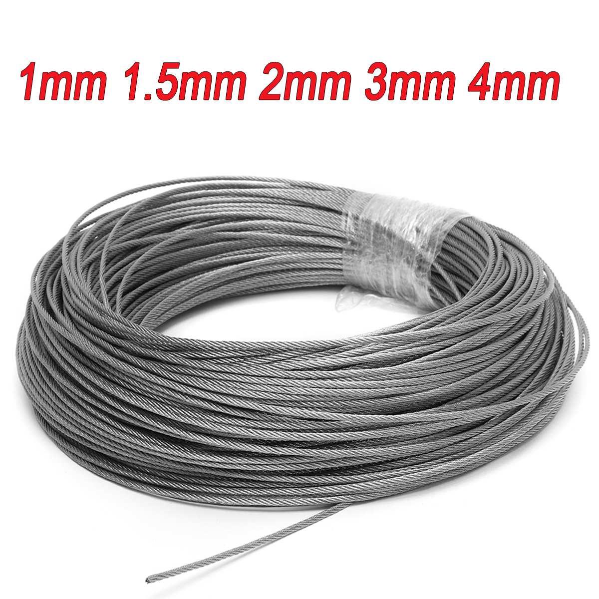 50 M/100 M 1mm 1.5mm 2mm 직경 304 스테인레스 스틸 와이어 로프 낚시 케이블 라인 빨랫줄 7X7 구조 1/1. 5/2mm