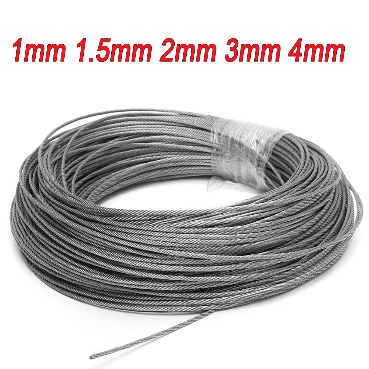 50M/100M 1mm 1.5mm 2mm Diameter 304 Stainless Steel Wire Rope Fishing Lifting Cable Line Clothesline 7X7 Structure 1/1.5/2mm