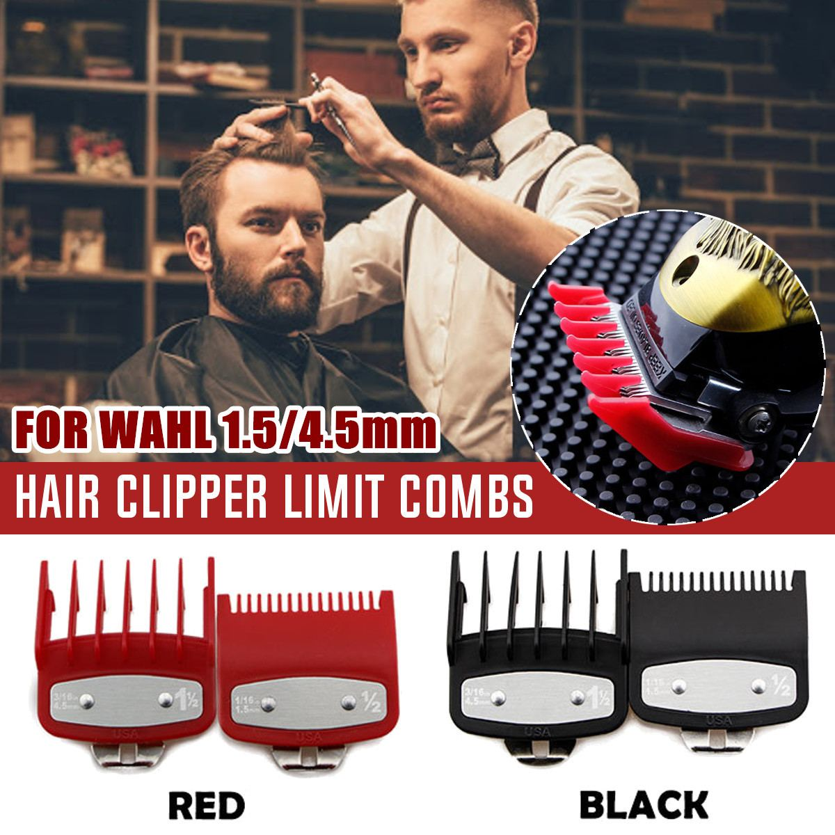 2Pcs Guide Comb Multiple Sizes Metal Limited Combs Hair Clipper Cutting Tool High Quality And Brand New For WAHL Machine