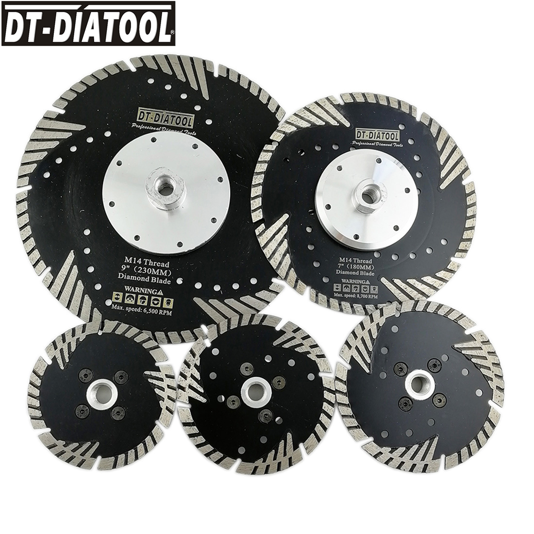 DT-DIATOOL 1pc Diamond Cutting Disc With Slant Protection Teeth M14 Or 5/8-11 Thread Saw Blade For Stone Granite Marbel Concrete