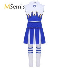 Outfit Costumes Crop-Top Schoolgirls Cheerleading-Clothes with Skirt And Socks Dancewear-Set