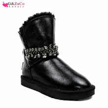 G&zaco Luxury Wool Snow Boots Genuine Leather Natural Sheep Fur Waterproof Women Cow Boots Winter 2019 New Female Warm Shoes цены онлайн