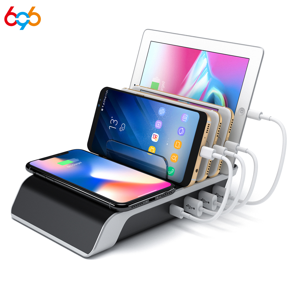 Black Multi Desktop Docking Station Hub with Type-C//USB//Quick Charge 3.0 Port for Android iOS Wireless Charging Station Dock,Multiple Devices Charging Organizer with 10W Fast Qi Cordless Charge Pad