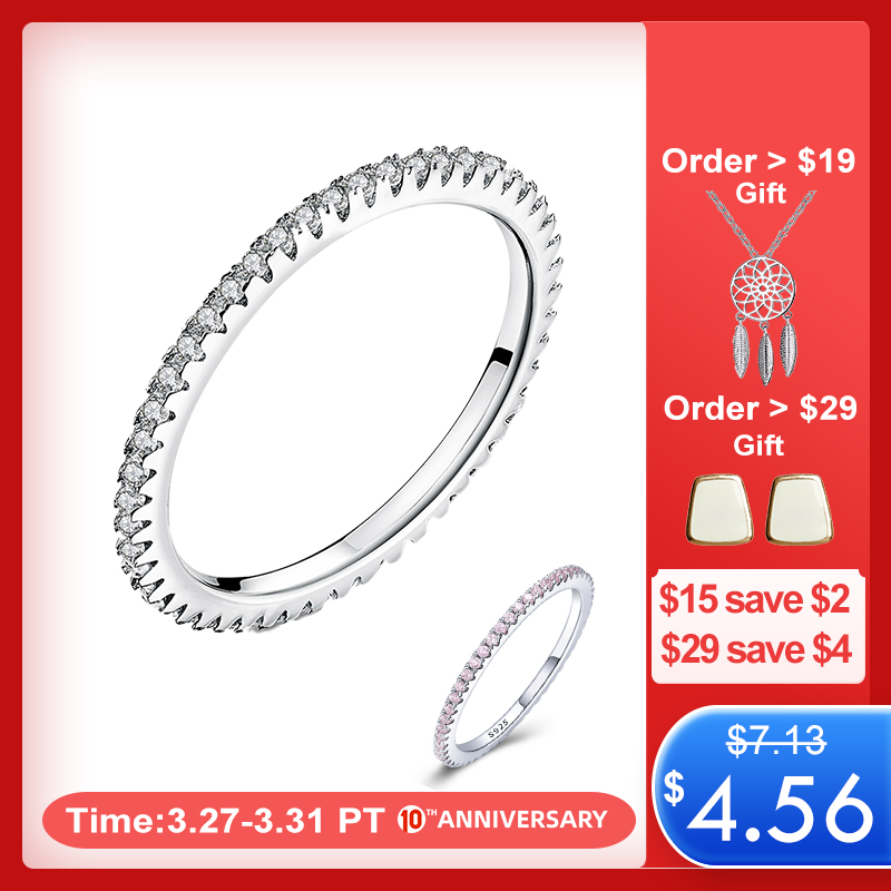 WOSTU Hot Sale 100% 925 Sterling Silver Geometric Round Clear CZ Circle Finger Ring For Women Engagement Jewelry Gift FIR066