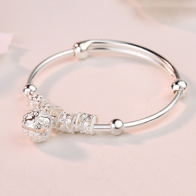 Fashion Silver 925 Sterling Silver Charm Stone Bangle Cuff Bracelet Ball Bell Pendants Women Jewelry Gift 2