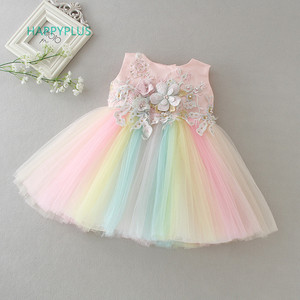 HAPPYPLUS Rainbow Baby Girl Dresses Party and Wedding 2nd 1st Birthday Dresses for Girls Fancy Frock Dress for a Year Old Baby(China)