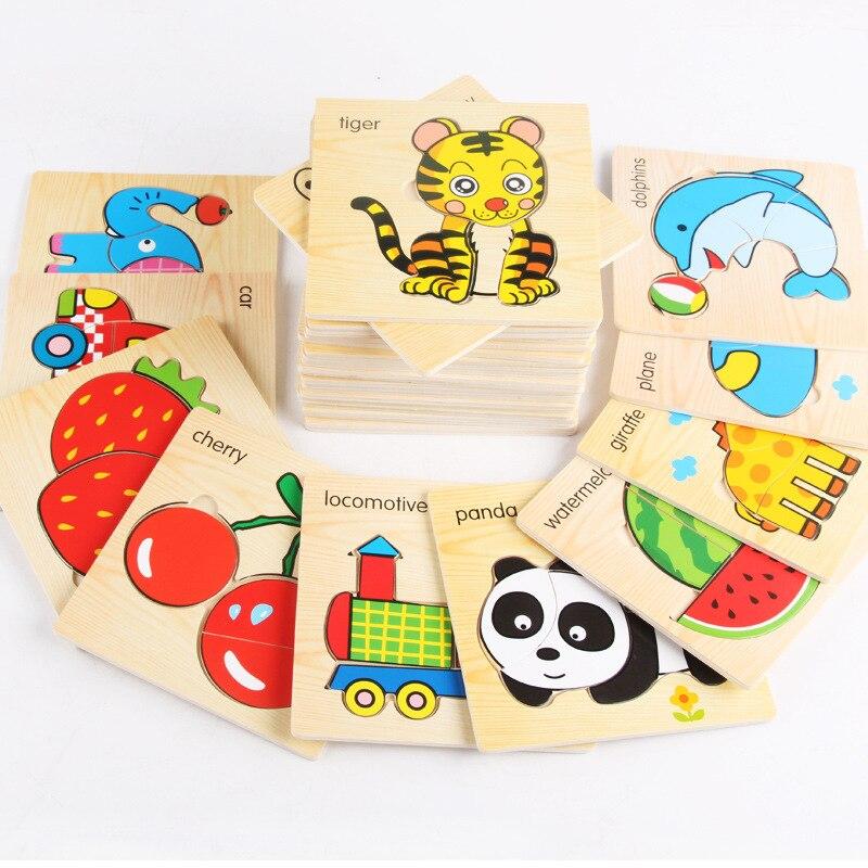 Montessori 3d quebra-cabeça de madeira brinquedos do bebê brinquedos educativos joga cognição dos desenhos animados compreender quebra-cabeças de inteligência para crianças brinquedos de madeira
