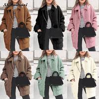 Winter Women's Faux Fut Coat 2019 Fashion Long Sleeve Warm Parka Outerwear Causal Jacket Plush Pocket Ladies Overcoat Invierno