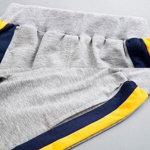 Image 5 - Комплект одежды для маленьких мальчиков, хлопковый спортивный костюм, штаны, пальто с капюшоном, комплект из 2 предметов, детский спортивный костюм, одежда для девочек, цветная строчка