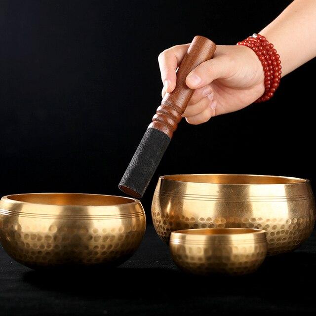 Nepal handmade Tibet Buddha sound bowl Yoga Meditation Chanting Bowl Brass Chime Handicraft music therapy Tibetan Singing Bowl 3