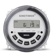 Цифровой ЖК-дисплей 7 дней программируемые таймеры переключатель 12 В 24 в 110 В 220 В AC DC Еженедельный таймер управления часами и минутами с обратным отсчетом